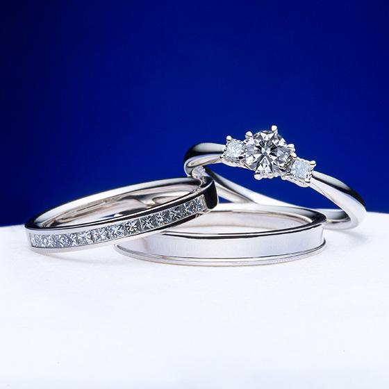 四角のダイヤモンド(プリンセスカット)を敷き詰め、シャープな輝きを楽しめるセットリング。