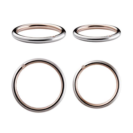 内側をピンクゴールド、外側をプラチナで仕上げた結婚指輪。隣の指にソフトに当たる丸みのある仕上がりが魅力。サイドに施した1粒のダイヤモンドもオシャレ。