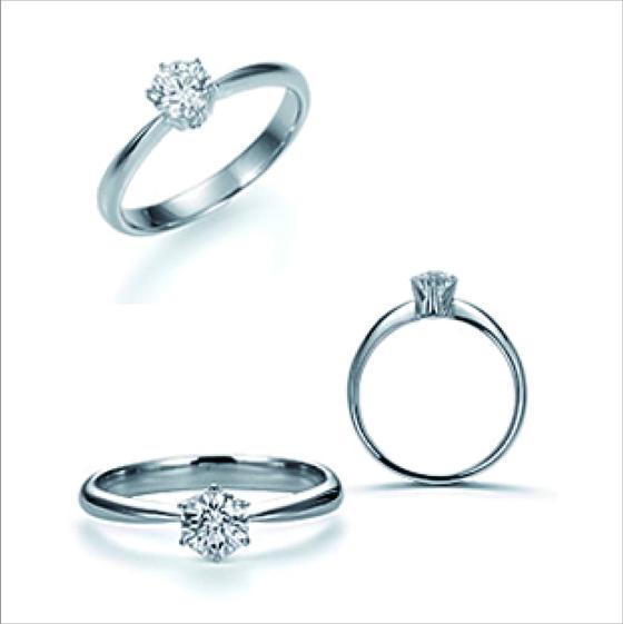 ダイヤモンドを受け止める繊細な爪のつくりも美しく、サイドビューでのダイヤモンドも美しい。