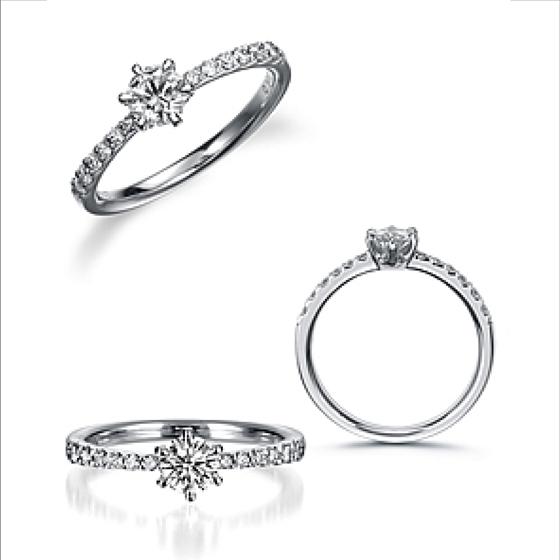 強弱のあるアームがダイヤモンドの流れを出し、女性らしいきらびやかなイメージを演出する。