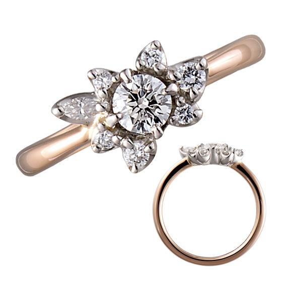 ふたりの人生を彩る花飾りをイメージさせた、華やかな婚約指輪。様々な大きさ、形のダイヤモンドの配列が絶妙。