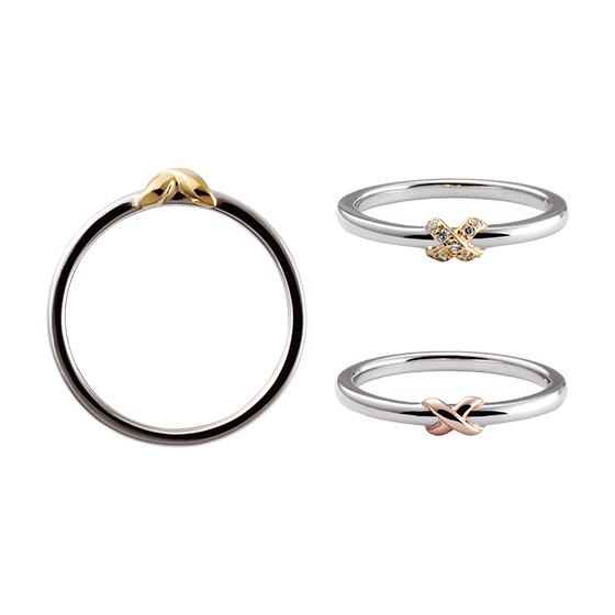 細身のストレートにワンポイントのクロスのデザイン。結婚指輪もオシャレに着けたい方に…