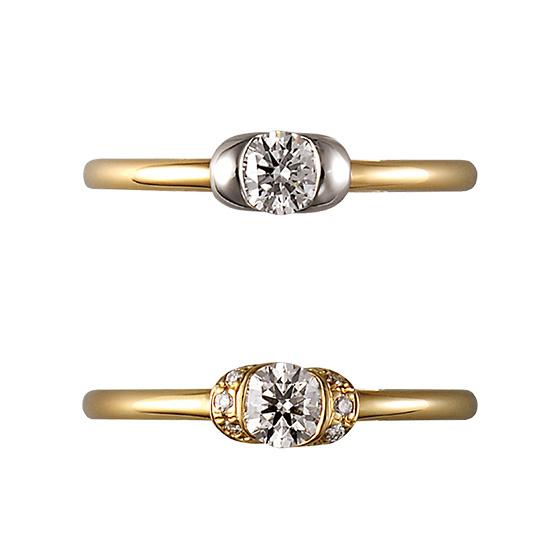 大切な彼からの贈り物のダイヤモンドを包み込んだ婚約指輪。