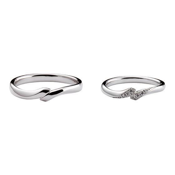 プラチナのボリュームを出し、立体感と丸みをつけた着け心地の良い結婚指輪。
