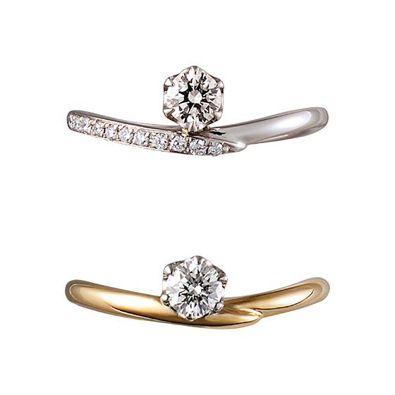 華やかにもシンプルにも、ダイヤモンドとアームの色味をチョイスできる婚約指輪です。