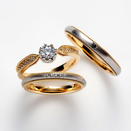 クラシカルなイメージでおつくりしたミル打ちの美しいセットリング。結婚指輪のマット感がアクセントとなりオシャレ!