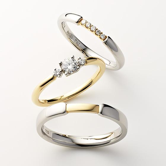 >エンゲージリングのダイヤモンド部分が重なるように作られたセットリング。