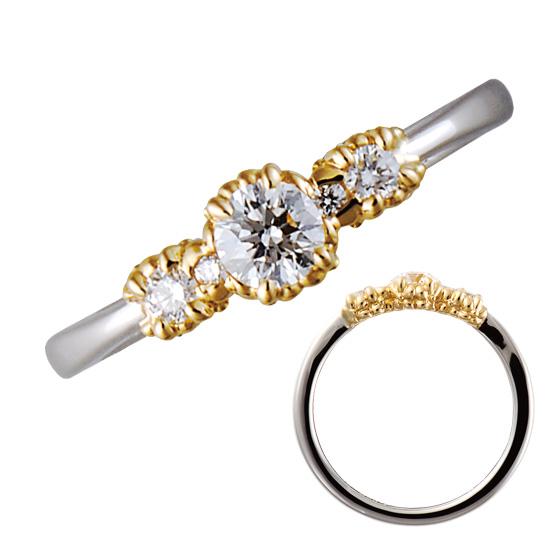 ダイヤモンドを支える爪の部分をゴールドに仕上げたオシャレな婚約指輪。様々な大きさのお花が咲き誇るお花畑をイメージしたリングです。
