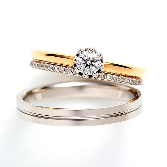 シンプルなストレートラインのセットリング。婚約指輪のダイヤモンドが引き立つように、セットの結婚指輪は極限まで細身に…