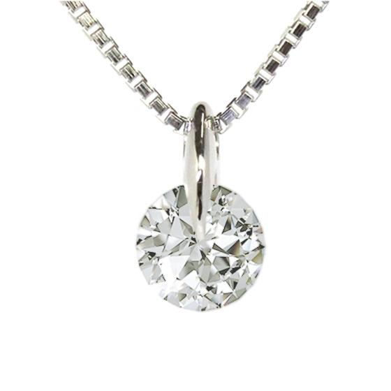 ダイヤモンドを1点留めで固定したネックレス。ダイヤモンドの輪郭が見え美しい輝きを楽しめるデザインです。