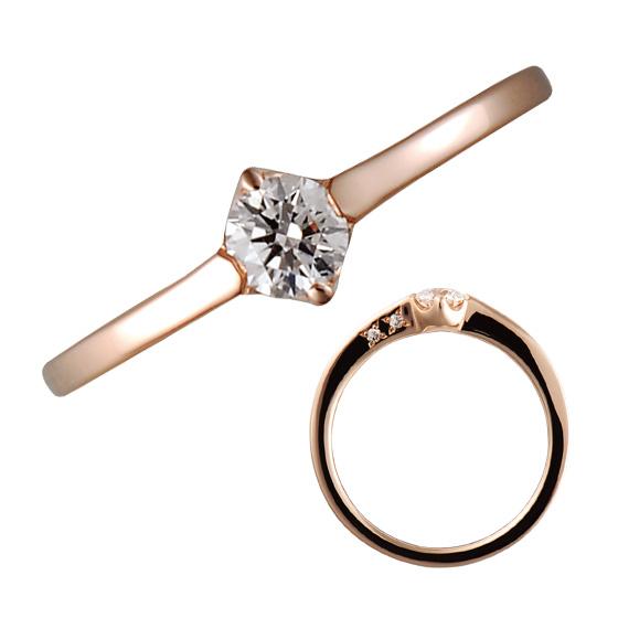 シンプルなデザインのフレーム部分にセッティングされたダイヤモンド。そっとよりそう二人をイメージ。