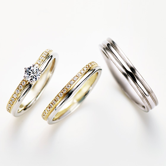 >2色のエタニティタイプのリングを重ねることで、この上ない華やかなリングに♡