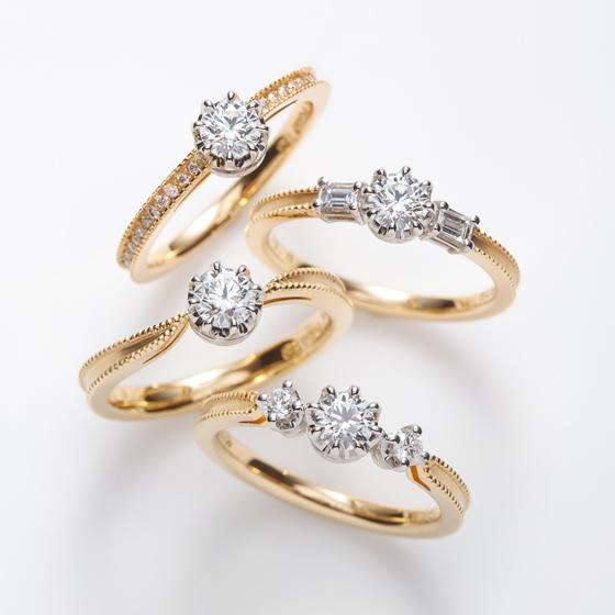 >cerca アンティークモチーフの婚約指輪。ミル打ちや、ダイヤモンドを支えるプラチナ部分の繊細さは必見です。