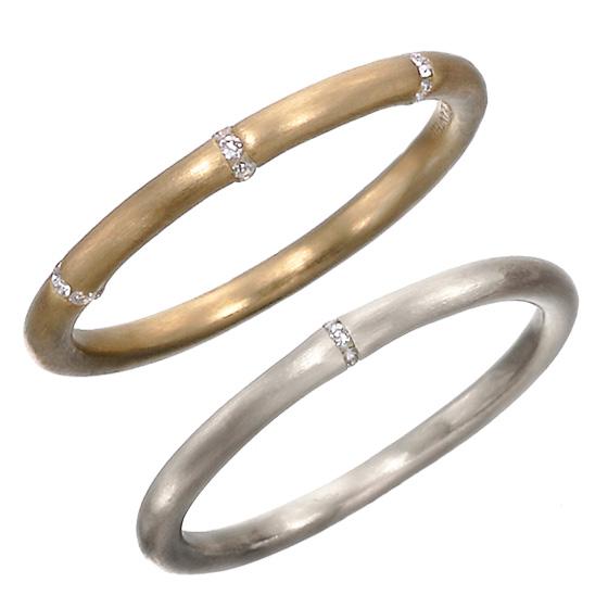 リングの丸みに合わせ、ダイヤモンドを立体的にセッティングしたマリッジリング。