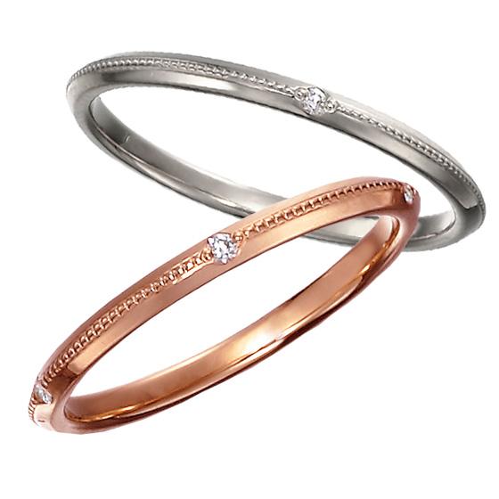 細身のリングに繊細なミル打ち加工を施した結婚指輪。ミル打ちとダイヤモンドの輝きが相乗し、センスの良さが光るリングです。