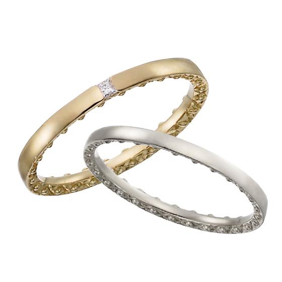 側面に施した装飾が満天の星空をイメージした結婚指輪。