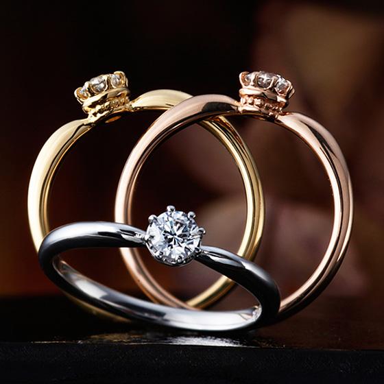ダイヤモンドを支える爪を8本で仕上げ、丸みの印象を強くしたエンゲージリング。横から見ると、王冠のようなデザインがオシャレ。