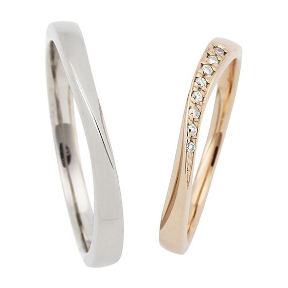 緩やかなウェーブラインの結婚指輪(マリッジリング)リーズナブルなので予算重視の方におすすめ。