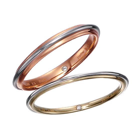 2色の色味が楽しめる細身の結婚指輪。丸く仕上げているので指当たりのもソフトです。