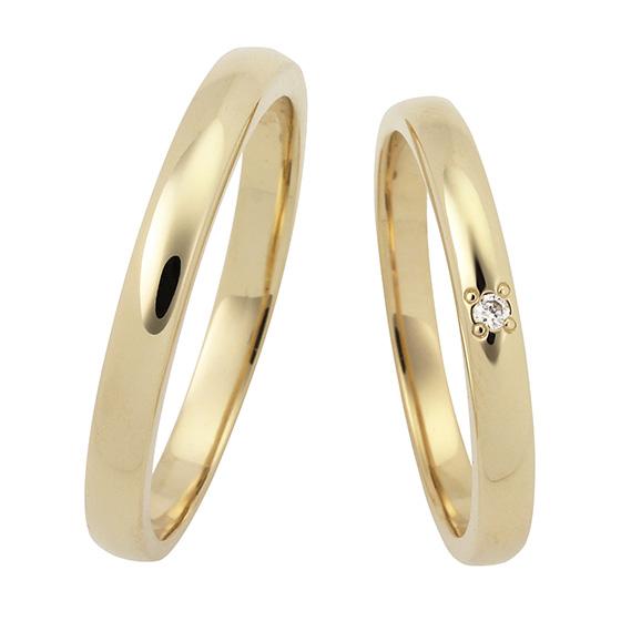 シンプルでストレートな王道結婚指輪(マリッジリング)。