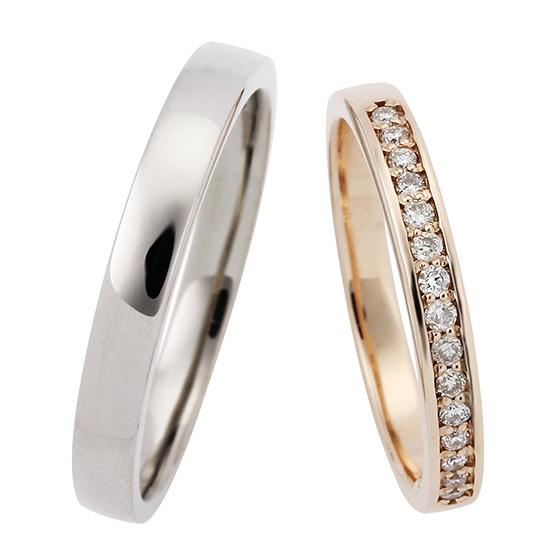 シンプルなストレートタイプの結婚指輪(マリッジリング)レディースはハーフエタニティタイプ。リーズナブルなので予算重視の方におすすめ。