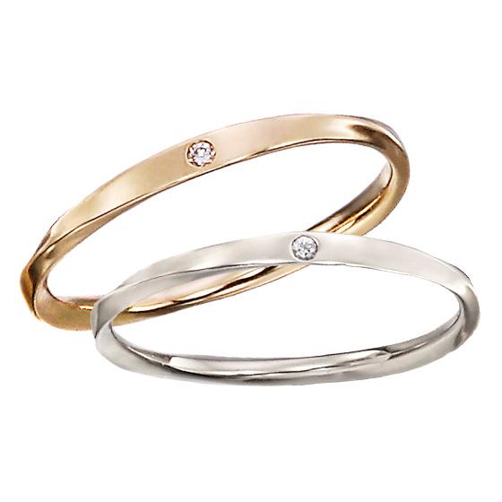 細く繊細に仕上げた結婚指輪。指に馴染むように指輪にカーブをつけ、着けているのを忘れてしまいそうなデザインです。