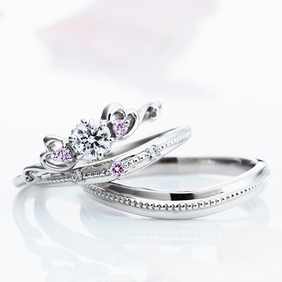3つのリングが一つに重なる ふたりの気持ちがぴったりとひとつになるデザインです。