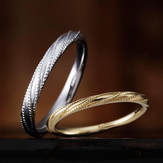 ミル打ちをらせん状に施したオシャレなマリッジリング。ストレートのリングに動きを加えた新感覚の結婚指輪。