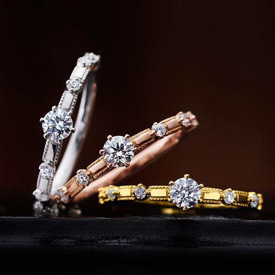 ダイヤモンドの丸みと、アームのシャープさを融合させたほかにはないデザインのエンゲージリング。