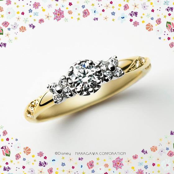 「魔法の花」の力を宿したラプンツェルの美しい髪がモチーフの婚約指輪。