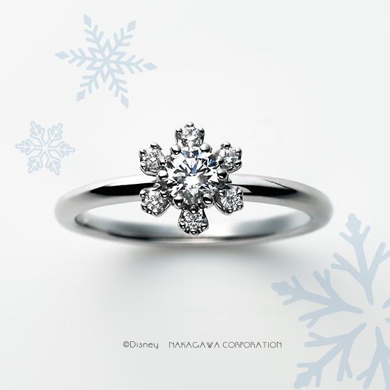 雪の女王エルサうぃ雪の結晶でイメージした婚約指輪。永遠に解けることのない奇跡の結晶は、約束の証となって輝き続ける…