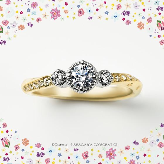 空高く舞い上がるランタンを、見上げるシーンがモチーフの婚約指輪。