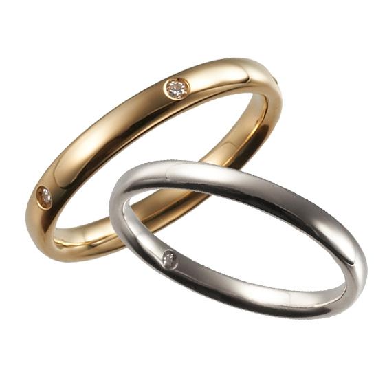 丸みをつけた着け心地のよい結婚指輪。等間隔に施したダイヤモンドは指輪が回ってしまっても気にならず、安心して着けられます。