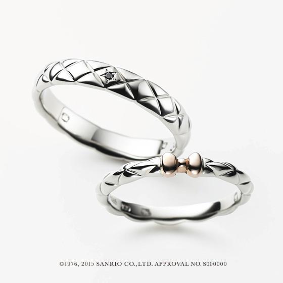 2人を包む幸せのヴェール。キルティングのデザインがかわいらしい結婚指輪。