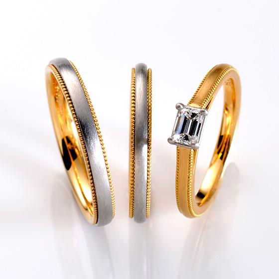 ゴールドとプラチナのコンビネーションが美しいシンプルなセットリング。