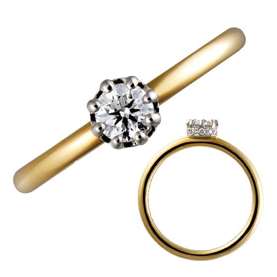 シンプルなストレートラインの婚約指輪。8個の爪で留められたダイヤモンドは、横から見ると…