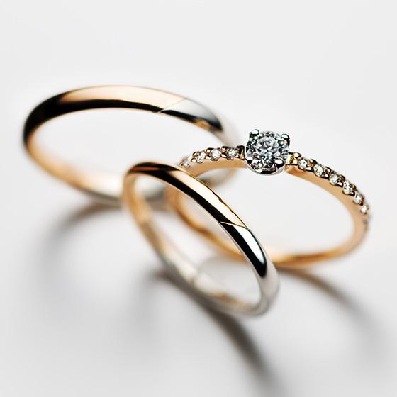 ゴールド・プラチナ・ダイヤモンドの輝き、色味を楽しめるセットリング。