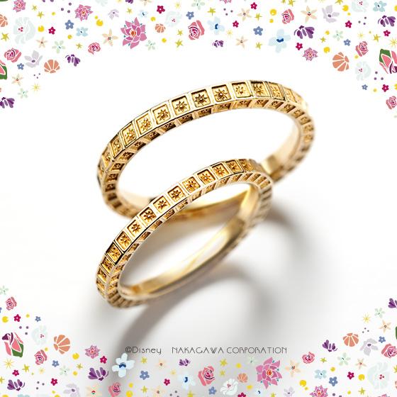 ジャスミンが住む宮殿をモチーフにアラビア模様をリング全体にあしらった結婚指輪。アラジンのエキゾチックな世界観を表現している。