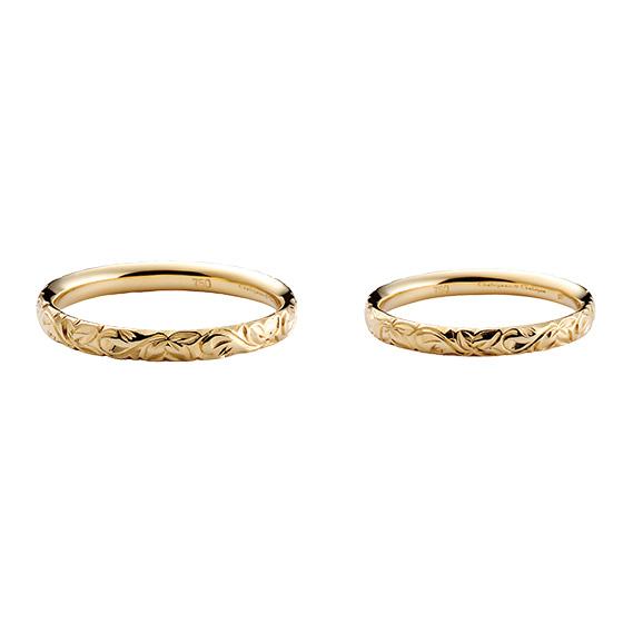 1周蔦模様を施した結婚指輪。二人の永遠の絆を表す「蔦」ivyは途切れることはない…