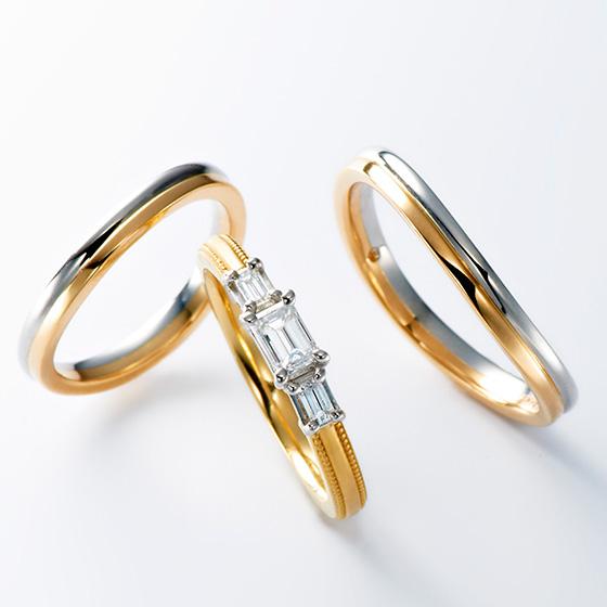 プラチナとゴールドの2色使いがきれいなセットリング。