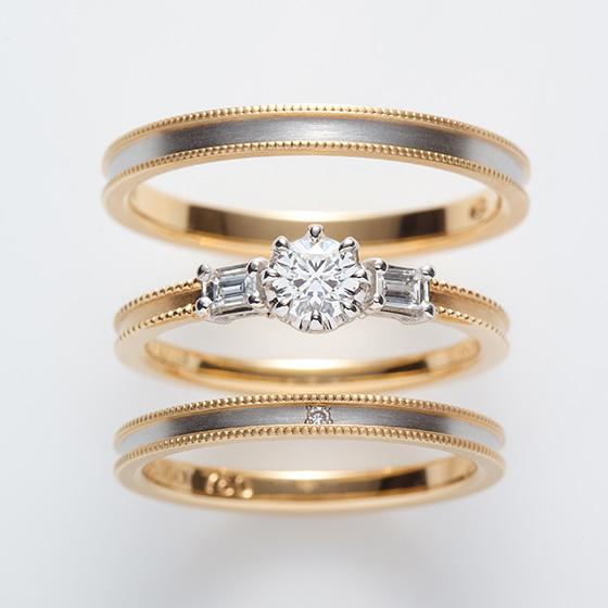 丸いダイヤモンドと、四角のダイヤモンドを使用しシャープな印象に仕上げたセットリング。