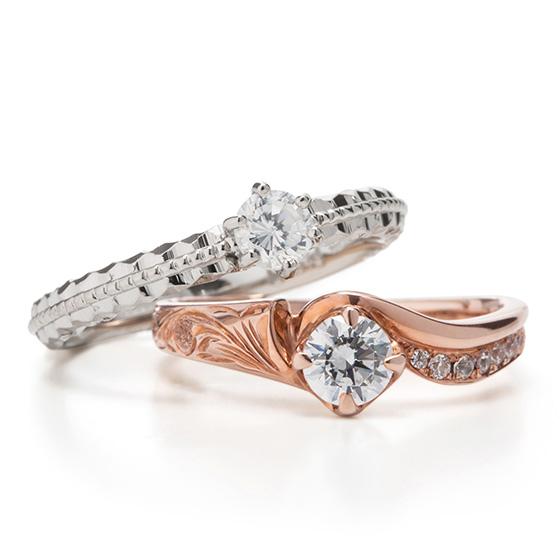 彫模様とダイヤモンドが楽しめる、ハワイアンジュエリーMakana。ダイヤモンドが引き立つデザインです。
