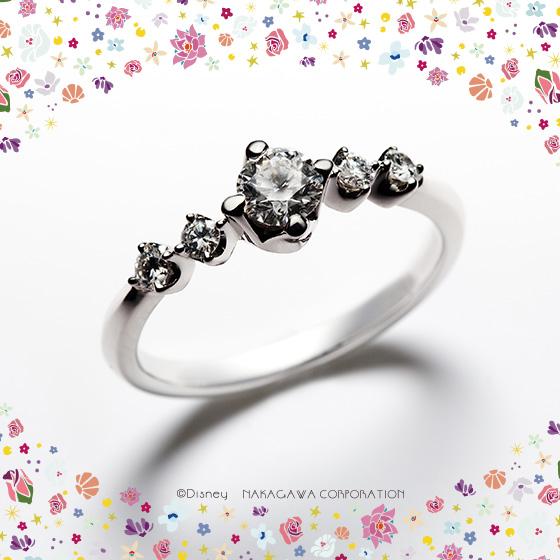 王子様を魅了するアリエルの歌声をリズミカルに輝くダイヤモンドで表現した婚約指輪。