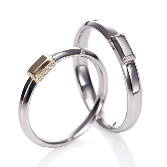 シンプルなストレートラインにアレンジを加えた結婚指輪。