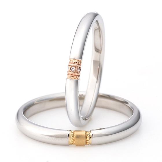 丸くコロンとした形状が可愛い結婚指輪(マリッジリング)センターのみ色味を変えてミル打ち(ミルグレイン)することでアンティーク感が出ます