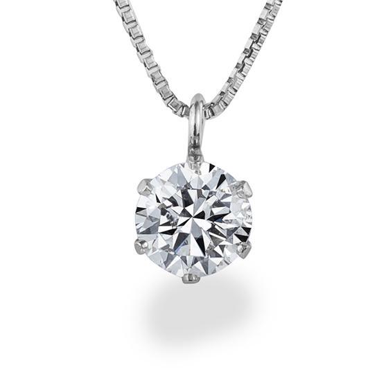 シンプルな6点留めのダイヤモンドネックレス。プラチナ部分が繊細な造りで、爪を最小限に見えないようにデザインされています。