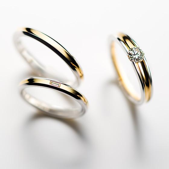 違う形のダイヤモンドをセッティングしたセットリング。この2つのダイヤモンドは輝き方の違うのです。