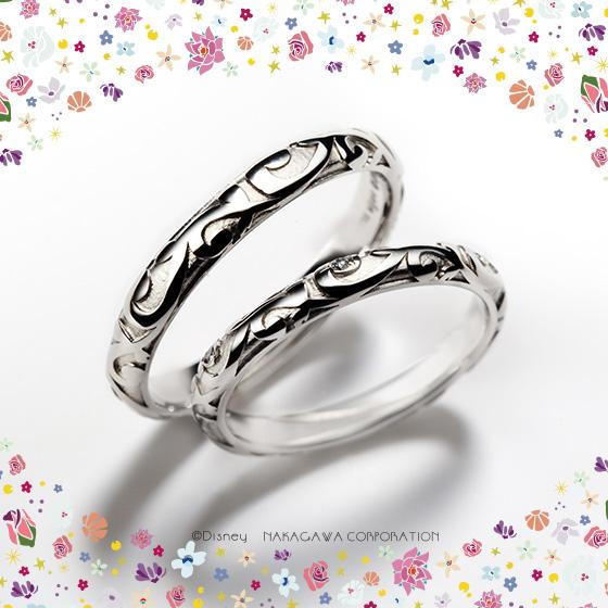 美女と野獣が出会うお城をモチーフにロココ調の模様をリング全体にあしらった結婚指輪。美女と野獣の優美な世界観を表現。