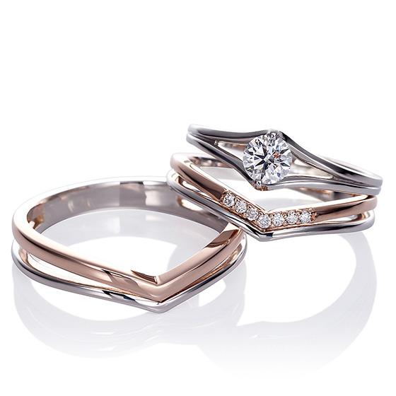 指をきれいに魅せるセットリング。シンプル且つ、人とは違うデザインをお探しのかたにピッタリなデザイン。