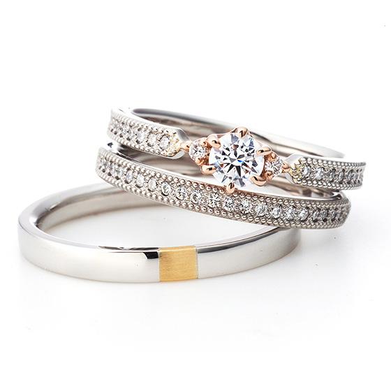 ミル打ちとダイヤモンドのセッティングが美しいエタニティタイプのセットリング。